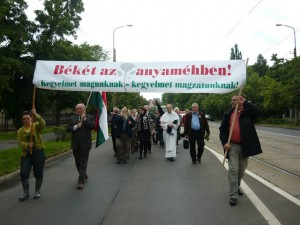 "June , 2013 Pro-Life March in Debrecen, Hungary. The banner reads: ""Peace in the womb! Amnesty for us – amnesty for our children before birth!"""