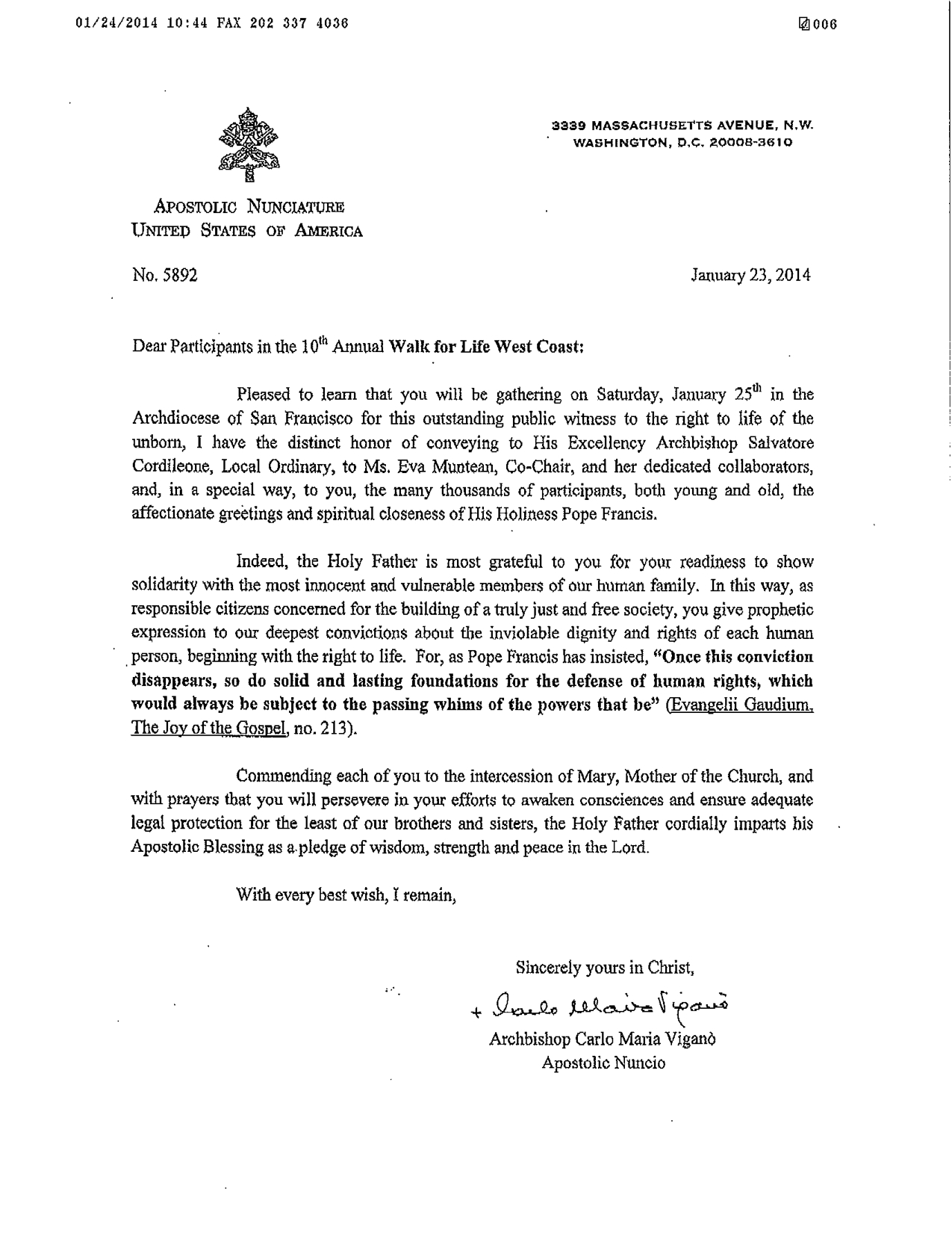 Ltr of Papal Nucio re WFL 4