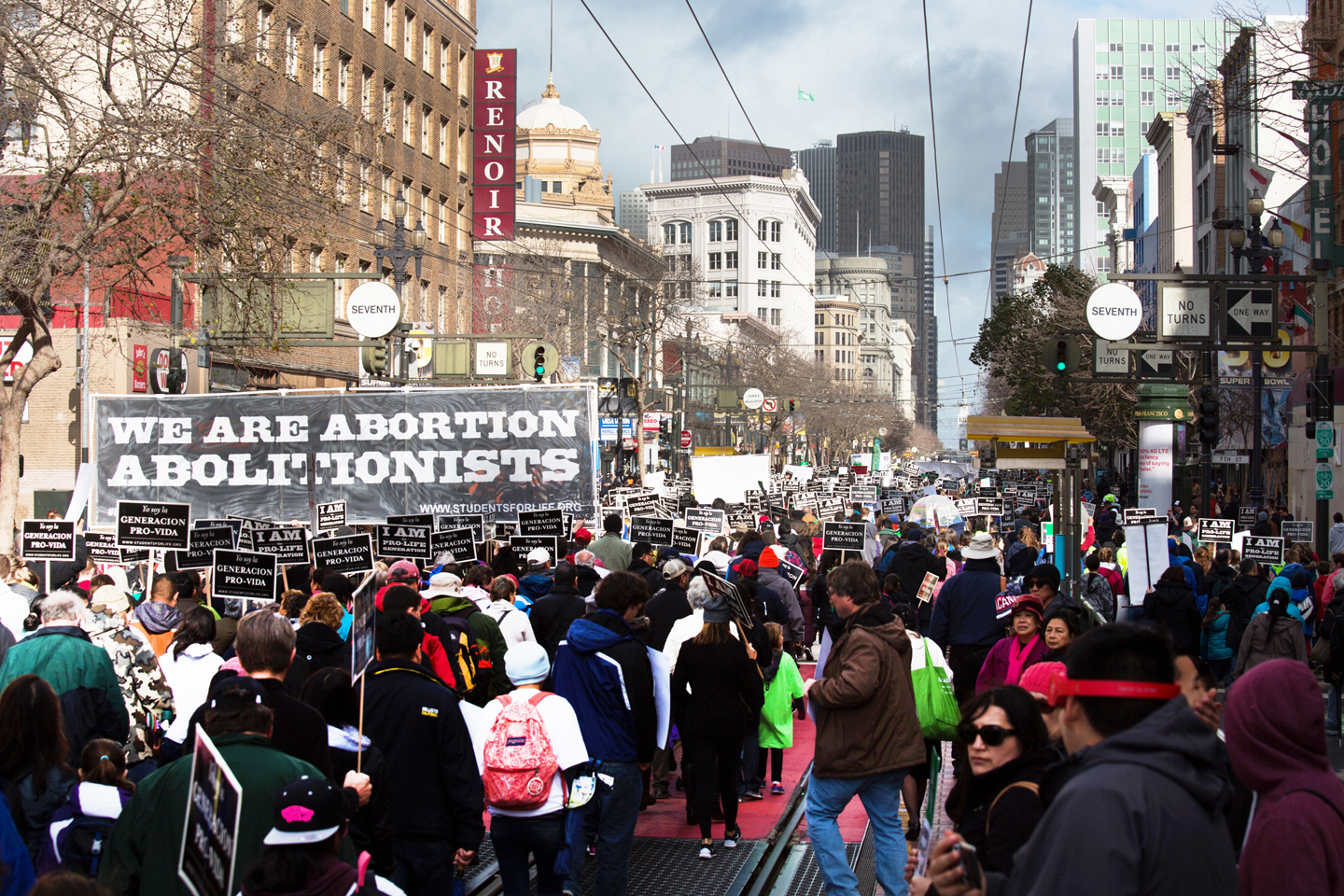 Walk for Life West Coast heads towards Ferry Building. Credit: Dennis Callahan, Catholic San Francisco.