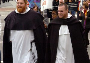 Fr. Michael Hurley, left, at 2009 Walk for Life West Coast.